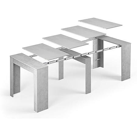 Tendencio Table Console Extensible Alga, rectangulaire avec rallonges, jusqu'à 237 cm, pour Salle à Manger et séjour, Gris béton. Jusqu´à 10 Personnes