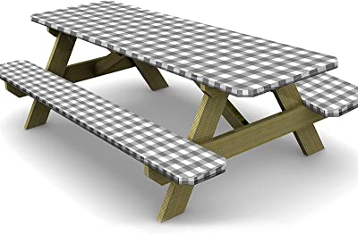 Ruisita 3 Pieces 72 Inches Vinyl Picnic Table and Bench Fitted Tablecloth Cover Picnic Table and Bench Fitted Tablecloth for Picnics Indoor and Outdoor Dining, Gray and White