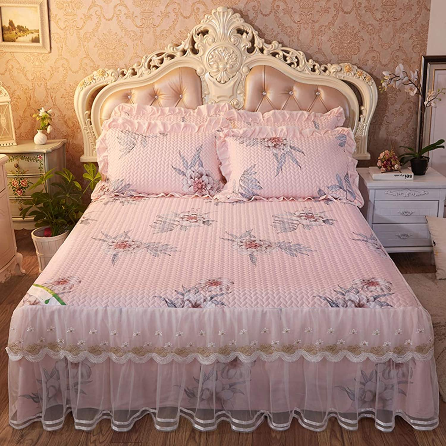 Lace Thicked Bed Skirt,Bamboo Quilted Single Piece Plus Cotton Bed Skirt with Split Corners Ultra-Soft Shrink and Fade Resistant-I 150x200cm(59x79inch)