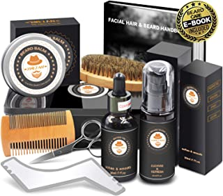 XIKEZAN Beard Grooming Kit in METAL BOX w/Beard Shaping Tool,Beard Shampoo/Wash,Beard Conditioner Oil,Beard Balm,Brush,Comb,Scissor,Beard Growth Care Accessories,Unique Boyfriend Gifts for Men