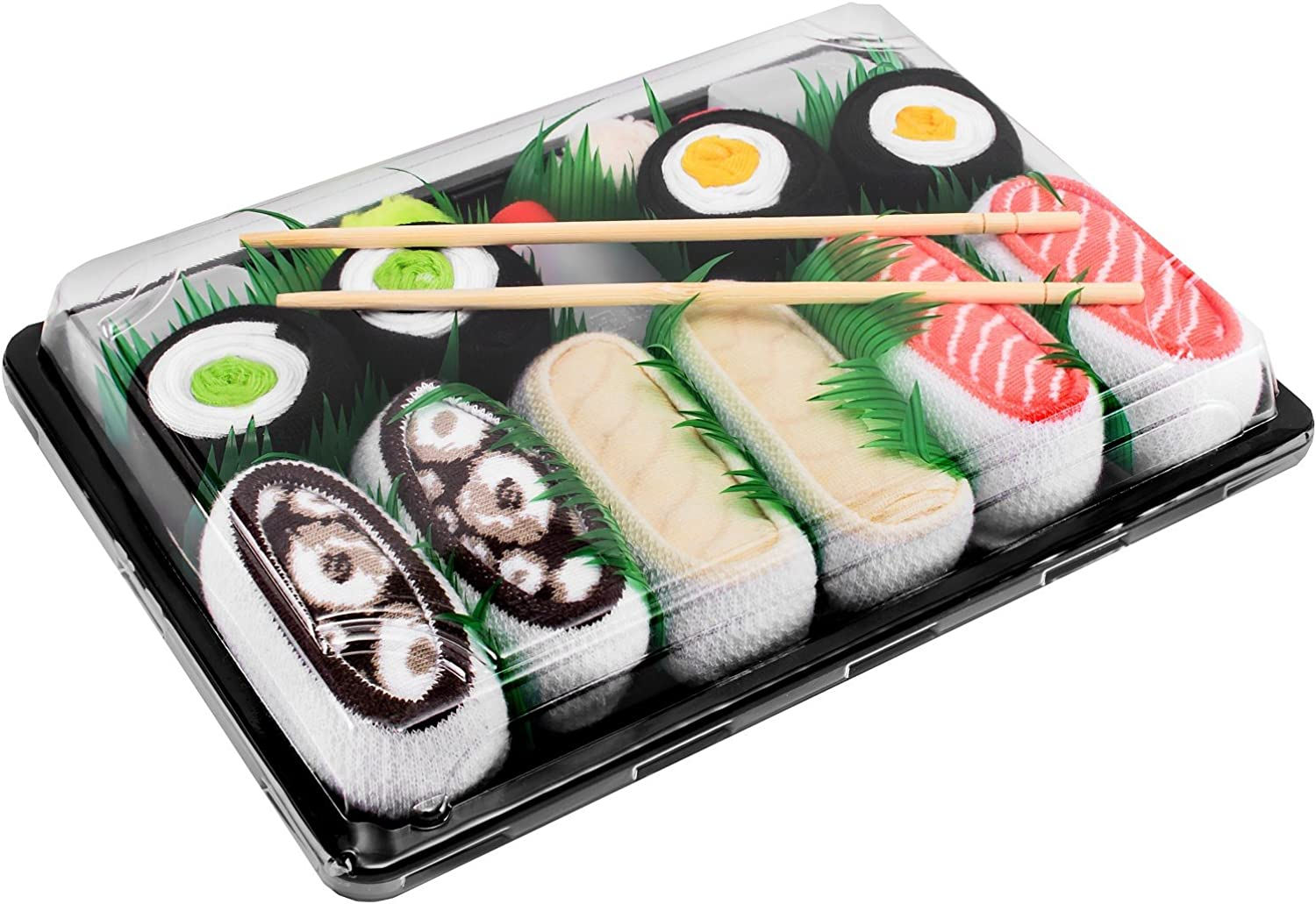 SUSHI SOCKS BOX 5 pairs Salmon Butterfish Octopus Maki FUNNY GIFT Made in Europe