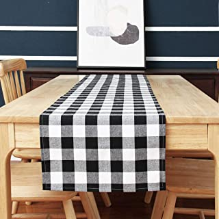 Acrabros -Buffalo-Check-Table-Runner -14X72 Inches Plaid Table Runners for Thanksgiving Christmas Family Dinners or Gatherings, Indoor or Outdoor Parties, Everyday Use,Black White Plaid