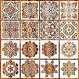 Plantillas de Mandala, PTN 16 Piezas Plantillas de Dibujo, Reutilizable Plantilla de Pintura Cortada para Decoración de Bricolaje para Pintar Sobre Madera, Roca, Metal, Muebles y Paredes(15x15cm)