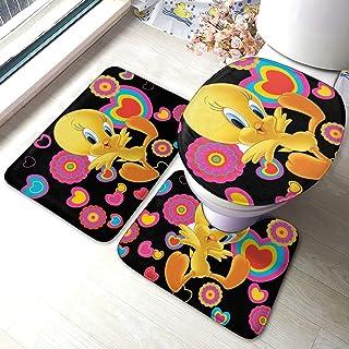 Lot de 3 tapis de bain colorés Titi Bird - Doux et absorbant - Antidérapant - Tapis de bain - Tapis de bain antidérapant +...
