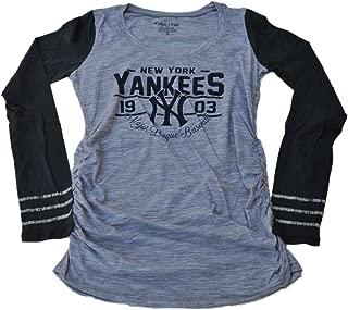 New York Yankees SAAG Women Maternity Gray Navy Triblend LS T-Shirt