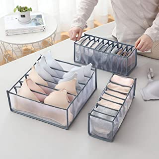 AUCHIKU Organiseurs de tiroir pour sous-vètements, Lot de 3 Boîte de Rangement Pliable Non-tissé Closet Organiseurs pour S...
