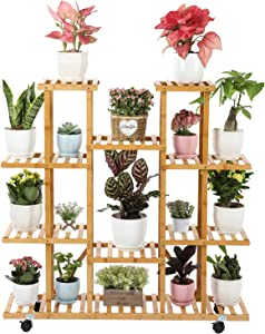 Gar-Life Bamboo Plant Stand for Indoor Plants 9 Tier with Wheels 17 Potted Plant Rack Outdoor Multiple Flower Pots Plant Shelf Display Holder for Patio, Lawn &Garden, Living Room, Bedroom & Balcony
