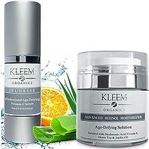 Vitamin C Serum & Retinol Cream for Face Bundle - Natural & Organic Anti Aging Skin Care Set for Men & Women to Reduce Wri...