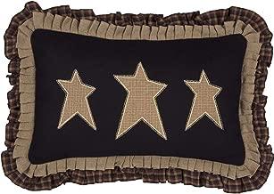 VHC Brands Pillows & Throws-Primitive Stars Black 14 x 22 Pillow, Raven