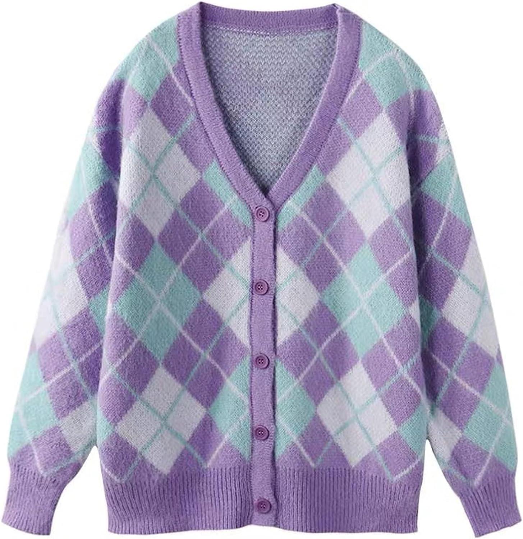 Women's Knit Cardigans V Neck Long Sleeve Button Argyle Print Sweater Coat Y2K Autumn Outerwear