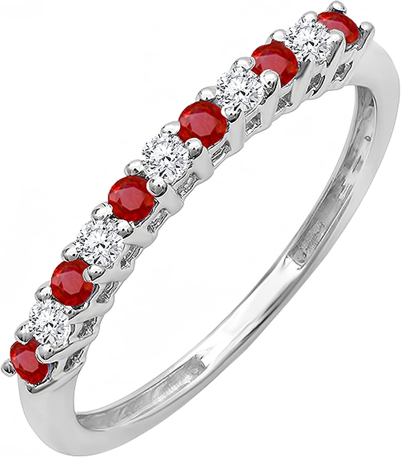 Dazzlingrock Collection Round Ruby and White Diamond Half Round Ladies Anniversary Vintage Style Stackable Wedding Band, Available in Metal 10K/14K/18K Gold