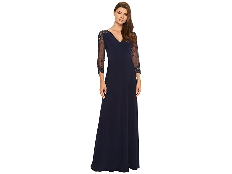 Adrianna Papell Jersey Beaded Gown (Midnight) Women