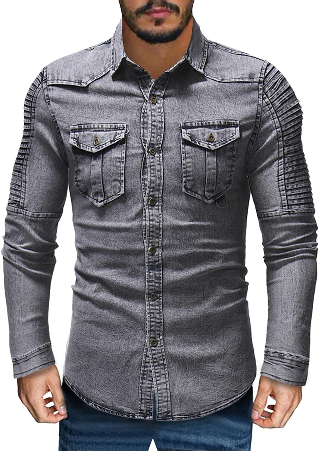 FUNEY Button Up Shirt Men Long Sleeve Washed Fall Winter Fashion Vintage Pleated Collared Basic Two-Pocket Denim Shirts