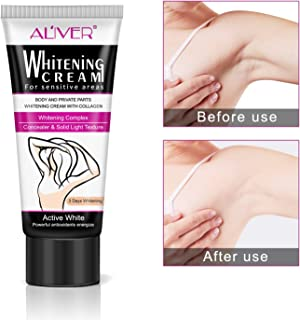 AL'IVER Intimate Skin Lightening Cream for Body, Bikini and Sensitive Areas - (2 Packs)Skin Whitening Cream Contains Hydrolyzed collagen, Glycerol, Nano Titanium Dioxide 60ml / 2 oz (2 Pack)