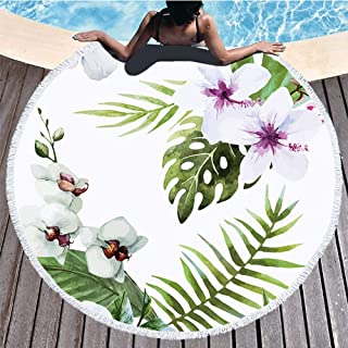 Boyouth Round Beach Towel,White Hibiscus Rosa-sinensis and Tropical Leaves Pattern Printing Beach Mat with Tassels Ultra Soft Super Water Absorbent Multi-Purpose Towel,59 inch-Diameter