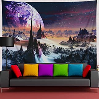 Amtoodopin Planet Tapestry Mountains Tapestry 3D Galaxy Stars Tapestries Space Landscape Tapestry Wall Hanging Mystic Psychedelic Wall Tapestry for Living Room Dorm Decor