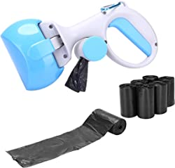 Pooper Scooper with 7 Rolls Poop Bags Portable Pet Waste Scoop for Dogs and Cats - Dog Droppings Processing Tool for Outdoor Walking or Traveling