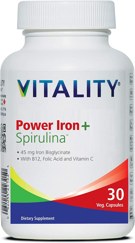VITALITY Power Iron Max 84% OFF + Spirulina Ir New product!! 45mg Blood Builder