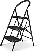 3 Step Ladder with Anti-Slip Wide Pedal Heavy Duty Ladder 330lbs Capacity for Household Black by XinSunho