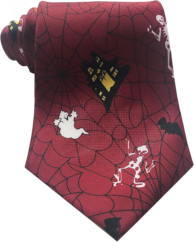 Melody Men's Ties Skull Spider Net Printed Neck Tie for Men Halloween Party Neckties