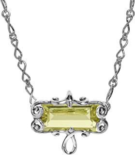 Carolyn Pollack Sterling Silver Lemon or Smokey Quartz Baguette Gemstone Infinity Link Necklace 16 to 18 Inch