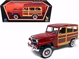 Road Signature New 1:18 SCOLLECTION - Burgundy 1955 Willys Jeep Station Wagon Diecast Model Car