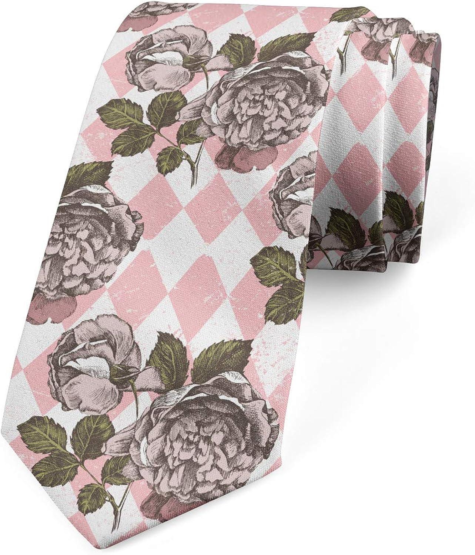 Ambesonne Men's Tie, Grunge Engraved Peonies, Necktie, 3.7