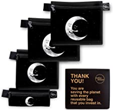 Eco-Friendly Reusable Snack and Sandwich Bags - Zero Waste Designer Dishwasher Safe Bags Set Includes 2 Large Reusable Food Bags 1 Medium 1 Small Snack Bags | Reusable Lunch Bag Set Wraps (Moon Hug)