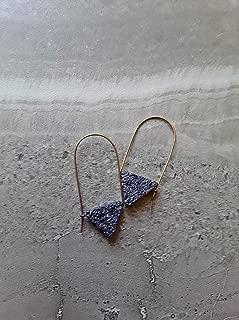 Lava Stone Triangle Geometric Essential Oil Diffuser Modern Hoop Earrings Copper
