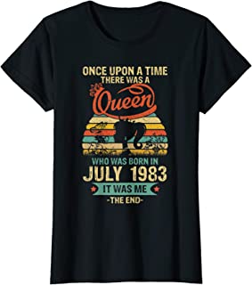 Womens Queen Was Born In July 1983 36th Birthday Vintage T-shirt