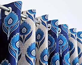 Exporthub 2 Pieces Fancy Design Blue Floral Polyester Eyelet Window Curtains - Length 5 Feet, (EHSPR728_54)