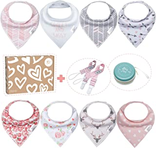 Baby Bibs for Girls by Bossy Sassy - 8 Pack Teething Pink Baby Bandana Drool Bibs + 1 Multifunctional Case, Best Baby Shower/Registry Gifts Set for Girls 0-24 Months