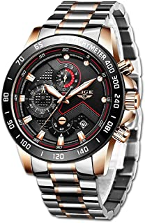 LIGE Mens Watches Fashion Luxury Elegant Sport Analog Quartz Watch Male Chronograph Business Casual Waterproof Stainless S...