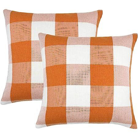 4TH Emotion Set of 2 Farmhouse Buffalo Check Plaid Throw Pillow Covers Cushion