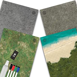 Battle Grid Game Mat - 2 Pack DOUBLESIDED - Portable Tabletop Role-Playing Map - Dungeons RPG Dice Dragons Starter Set - T...
