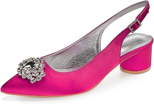 Zxstz Chaussures de Femmes en Satin de Mariage Mariage de Printemps été Talon Haut Chaussures à Bout Pointu Chaussures de Parti Strass Fleur  le style classique