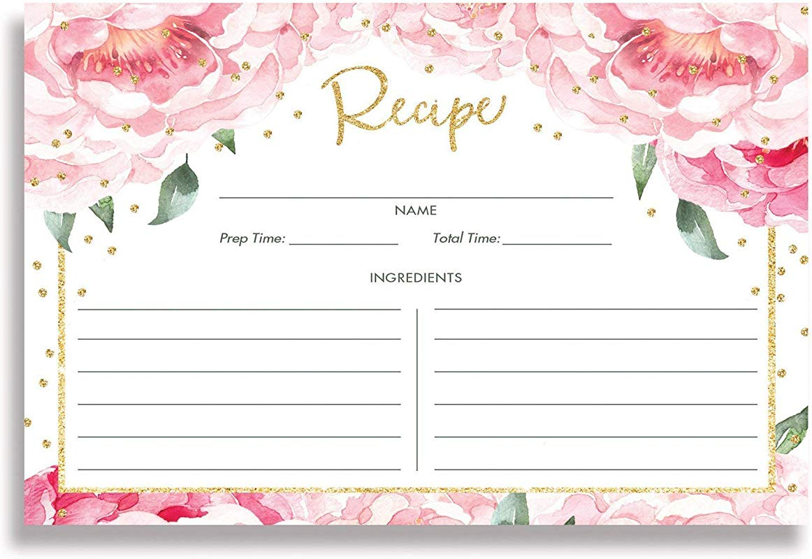 Pink Peony Recipe Cards Set Of 25 4x6 Inches Double Sided Pink Peonies Blush Pink Thick Card Stock Floral Recipe Cards Jenn White