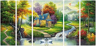 Art Amori Natural Village Landscape set of 5 MDF PaintingMulticolour 12x18 Inch - 1 Piece + 6x18 Inch-4 pieces for Wall Pa...