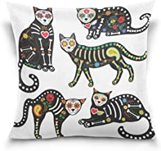 "MASSIKOA Sugar Skull Cats Decorative Throw Pillow Case Square Cushion Cover 20"" x 20"" for Couch, Bed, Sofa or Patio - Only..."