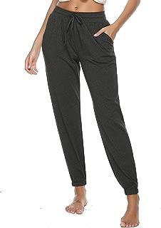 Vlazom Women Pajama Pants Cotton Knit Sleep Bottoms Drawstring Yoga Jogger Lounge Pants with Pockets