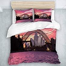 CIKYOWAY Duvet Cover Set, Australia Sydney Opera House City Harbour Bridge Morning Light Sunset View, Soft Quilt Set 3 Pieces (King Size)
