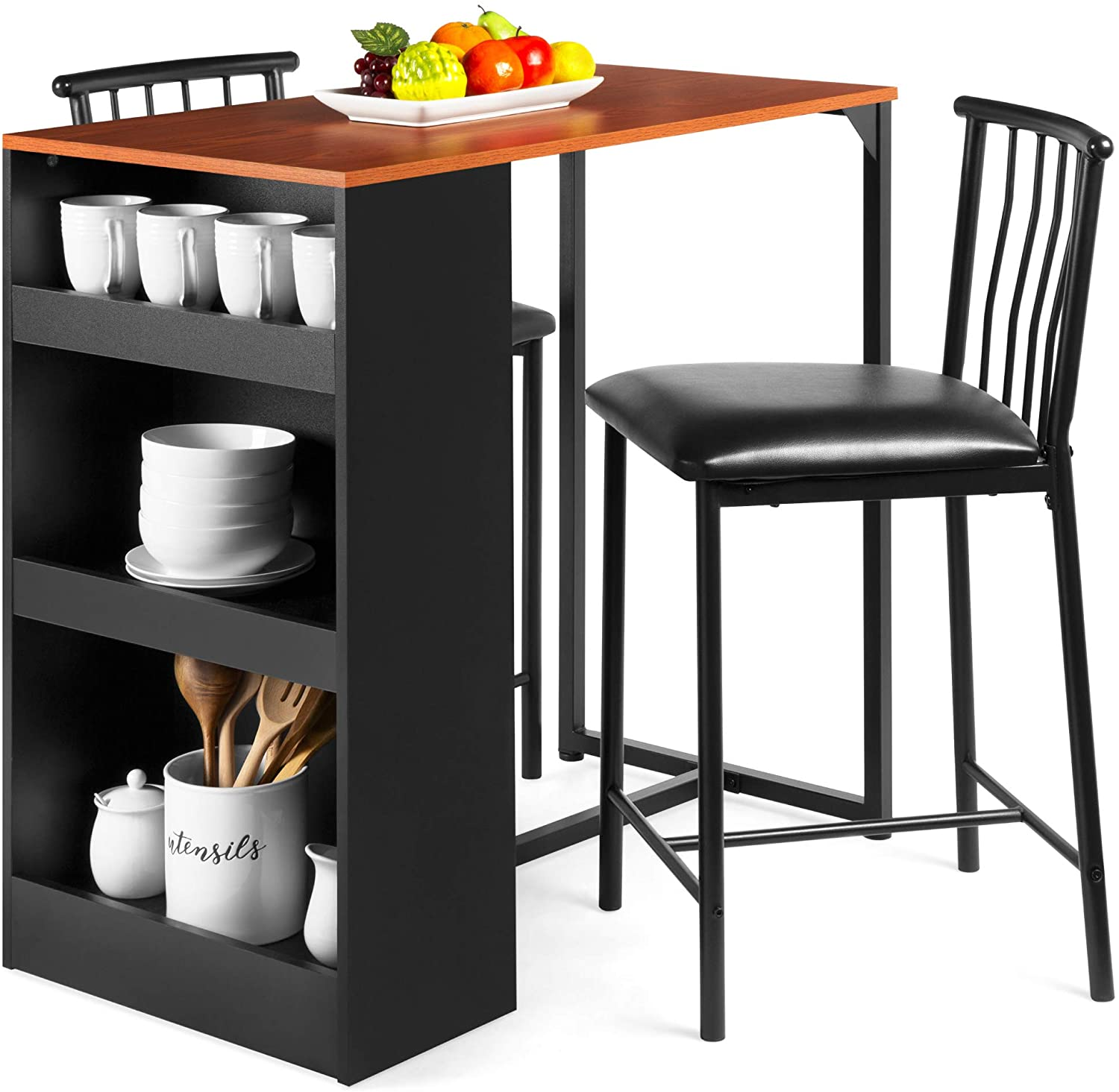 Best Choice Products 9 Piece 96in Wooden Counter Height Dining Table Set  for Kitchen, Dining Room w/Storage Shelves, Metal Frame, 9 Barstools   ...