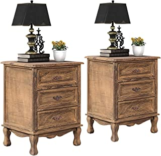 Giantex 3 Drawers Nightstand End Table Storage Wood Cabinet Bedroom Side Storage (2, Wood)