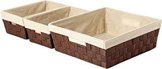 Juvale Woven Storage Baskets - 3-Piece Nesting Baskets Set, Strap Storage Tote for Shelf, Kitchen, Bathroom - Small, Medium, and Large - Brown and Beige