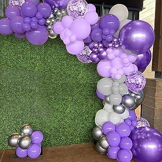 Lila ballonger båge girlang kit, lila födelsedagsdekorationer, pastell lila ballonger, macaron lila grå ballonger, metalli...