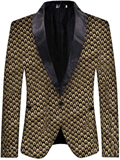 Mens Casual Blazer Slim Fit Suits Jacket Floral Printed One Button Dinner Party Wear Coats Goosun Autumn Winter Long Sleev...