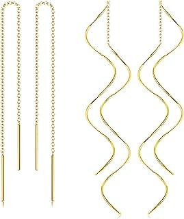 Stainless Steel Tassel Threader Dangle Drop Earrings for Women Lightweight