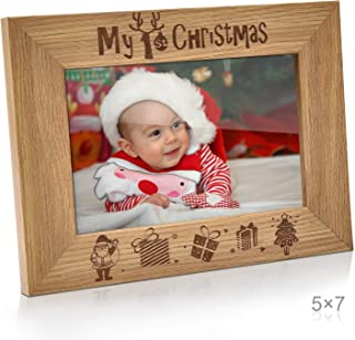 My 1st Christmas Picture Frame 5x7 My First Baby's 1st Christmas Santa & Me Engraved Natural Wood Photo Frame (5x7-Horizontal - Engraved)