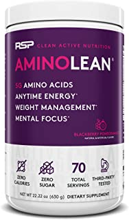 RSP AminoLean - All-in-One Pre Workout, Amino Energy, Weight Management Supplement with Amino Acids, Complete Preworkout Energy for Men & Women, Blackberry Pom, 70 (Packaging May Vary)