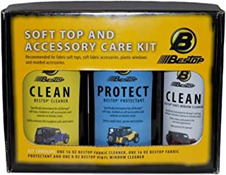 Bestop 11215-00 Paquete de cuidado de telas - Vinilo Soft Top Cleaner, Vinyl Window Cleaner y Vinyl Protectant 3-pack - en caja